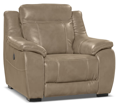 Novo Leather-Look Fabric Power Reclining Chair – Taupe - Modern style Chair in Taupe
