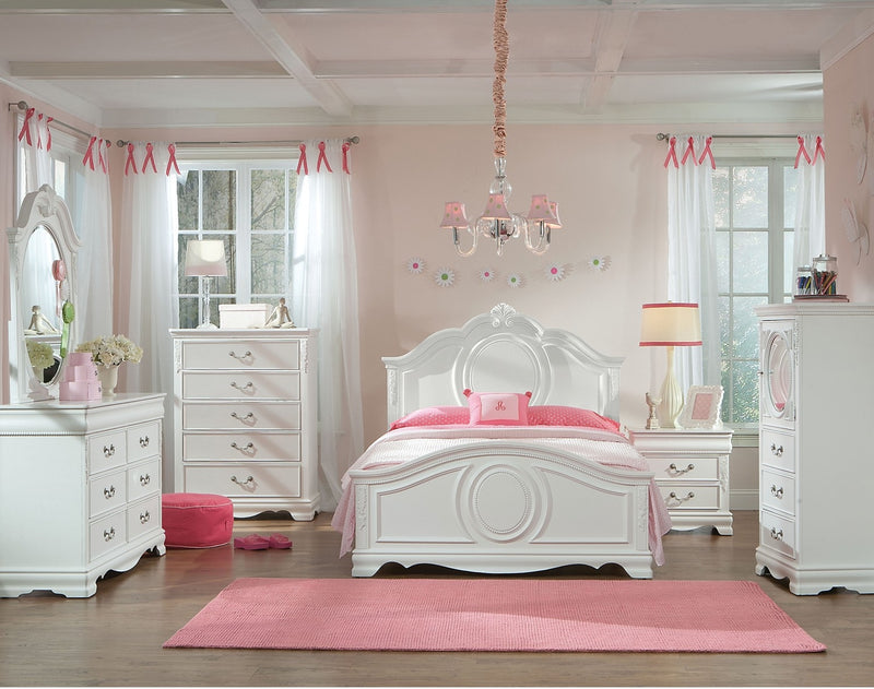 Jessica 5-Piece Twin Bedroom Set – White|Ensemble de chambre à coucher Jessica 5 pièces avec lit simple - blanc