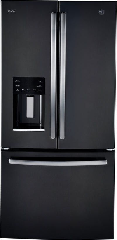 GE Profile 17.5 Cu. Ft. French-Door Refrigerator with Icemaker – PYE18HBLKTS - Refrigerator with Exterior Water/Ice Dispenser in Black Stainless Steel