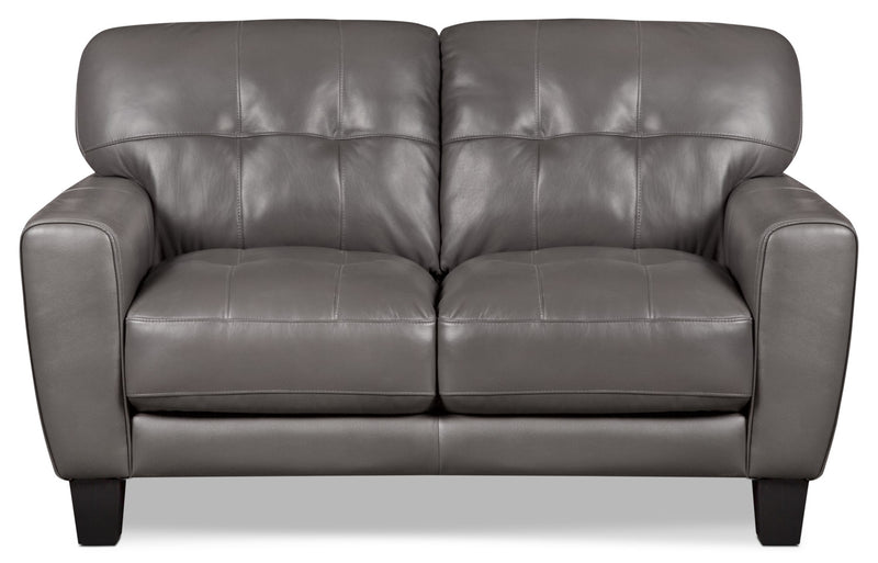 Abby Genuine Leather Loveseat – Grey|Causeuse Abby en cuir véritable – grise