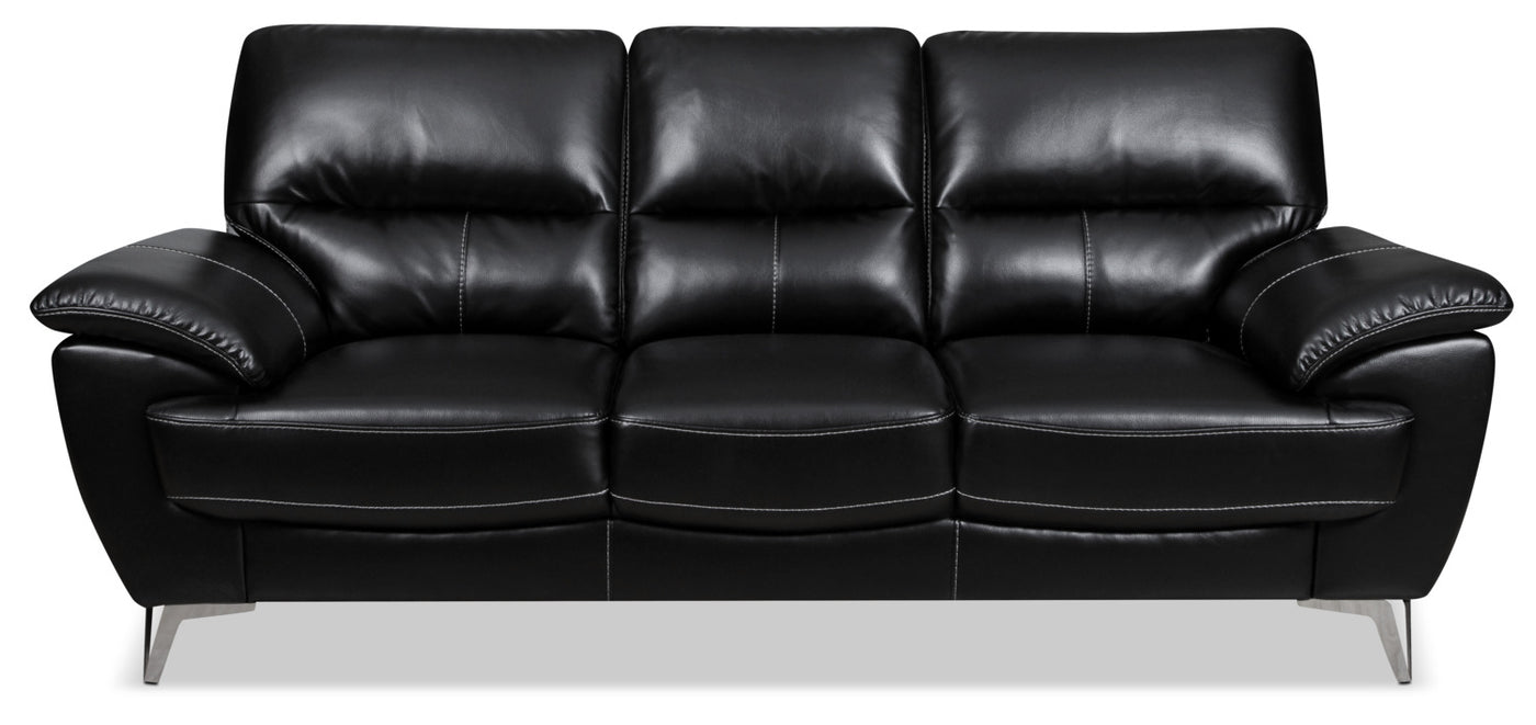 Olivia Leather-Look Fabric Sofa – Black