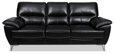 Olivia Leather-Look Fabric Sofa – Black|Sofa Olivia en tissu d'apparence cuir - noir|OLIVBKSF