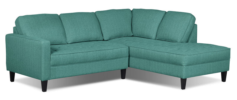 Paris 2-Piece Linen-Look Fabric Right-Facing Sectional – Ocean - Modern style Sectional in Ocean