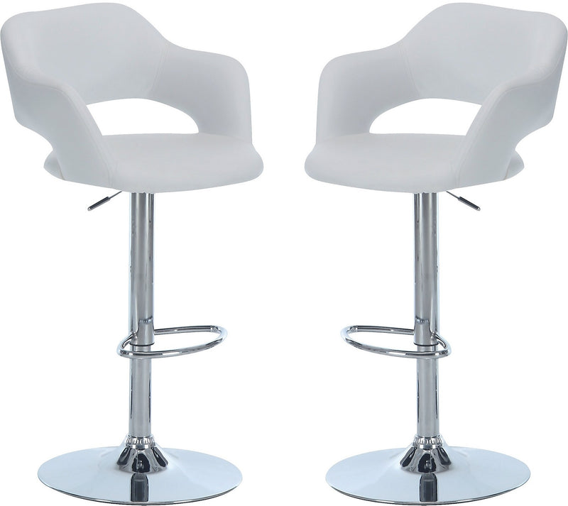 Monarch Hydraulic Contemporary Bar Stool, Set of 2 – White|Ensemble des tabouret hydraulique blanc