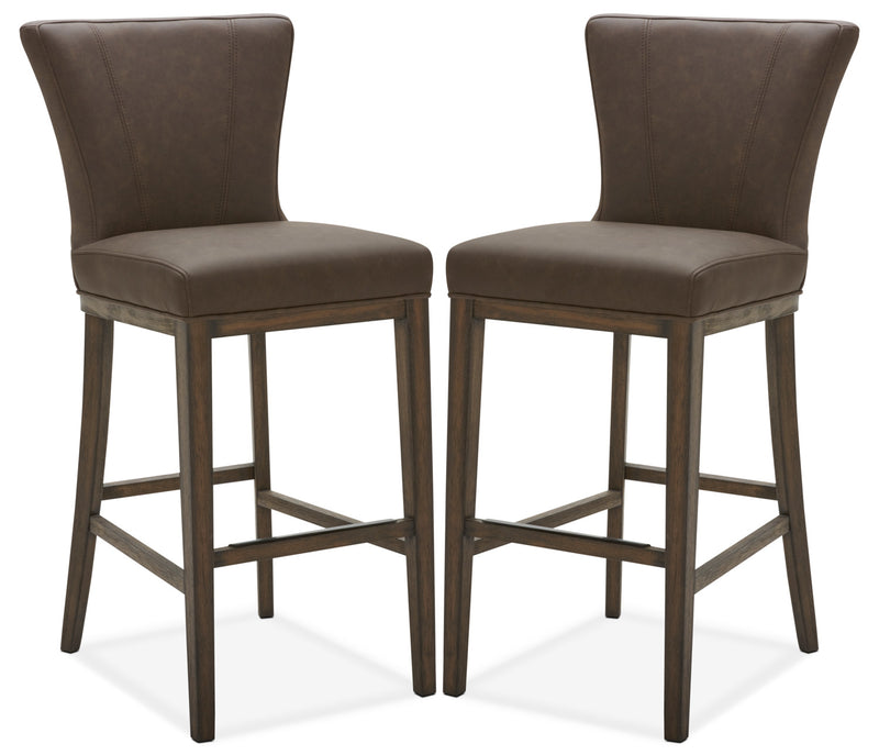 Quinn Bar Stool, Set of 2 – Brown|Tabouret bar Quinn, ensemble de 2 - brun