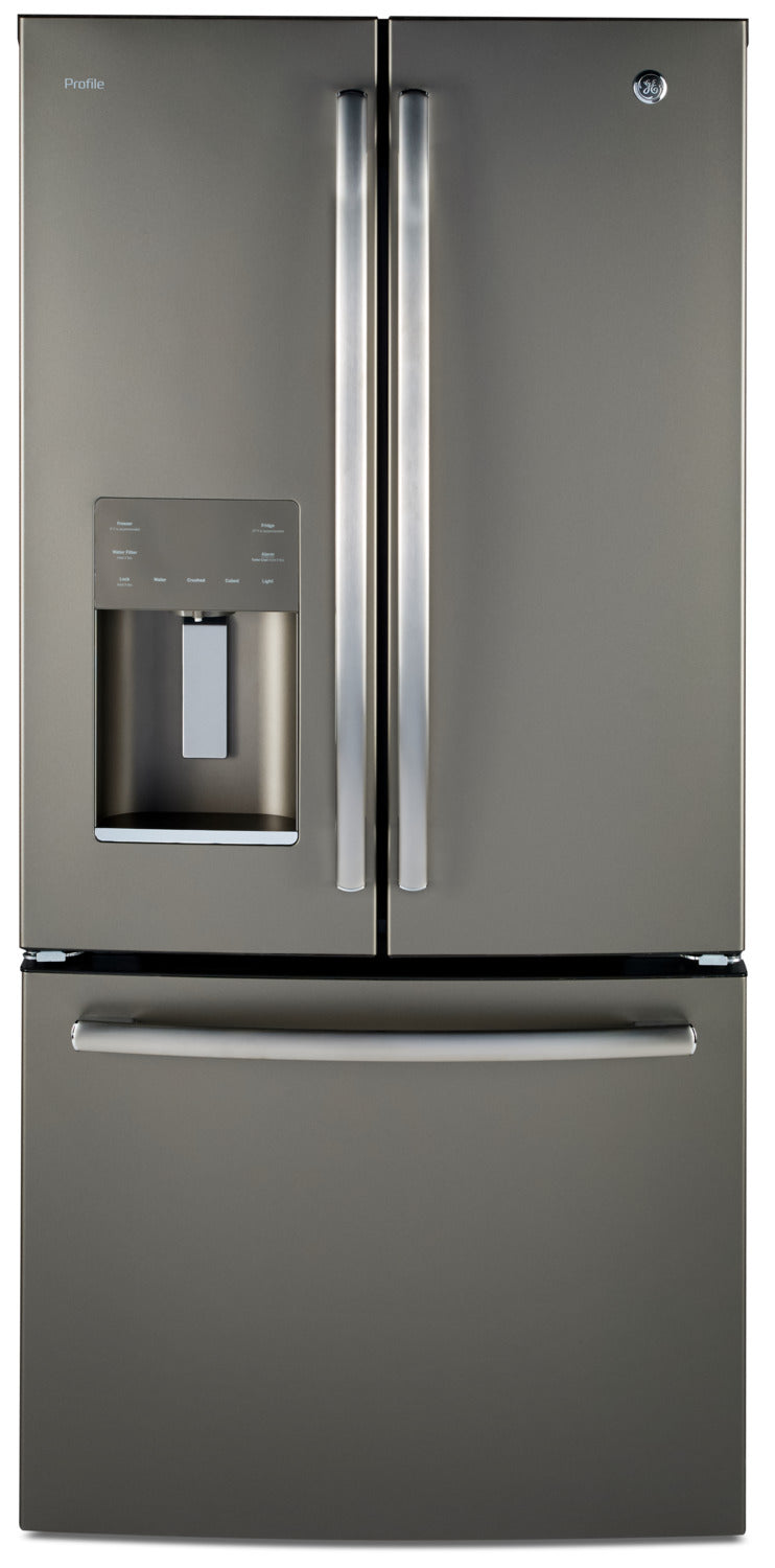 GE Profile 17.5 Cu. Ft. French-Door Refrigerator with Icemaker – PYE18HMLKES - Refrigerator with Exterior Water/Ice Dispenser in Slate