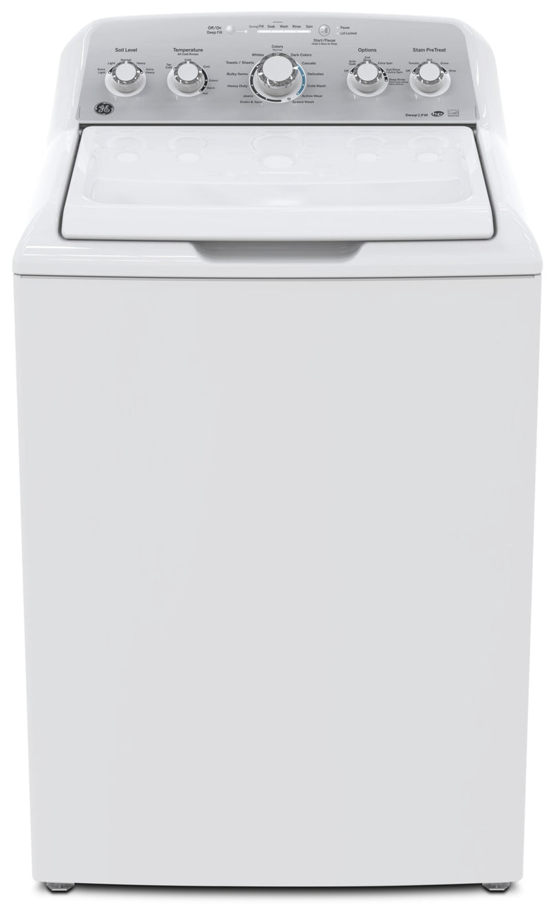GE 4.9 Cu. Ft. Capacity Top Load Washer with Stainless Steel Drum– GTW485BMMWS|Laveuse à chargement par le haut de 4,9 pi³ avec tambour - GTW485BMMWS