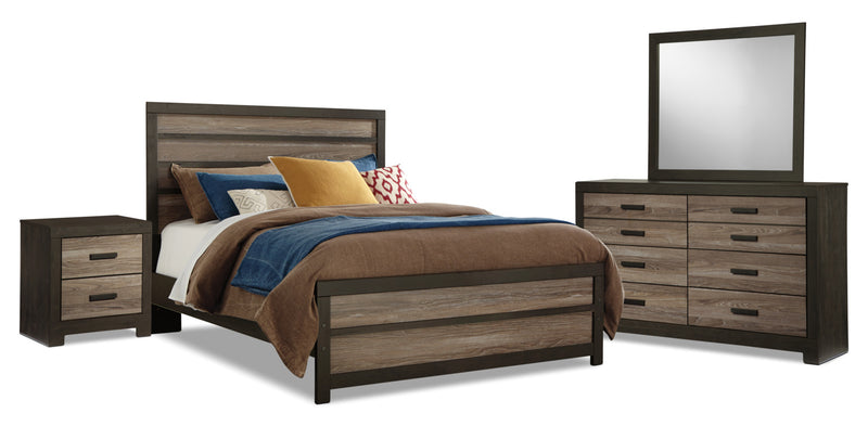Harlinton 6-Piece Queen Bedroom Package - Rustic style Bedroom Package in Two-Toned