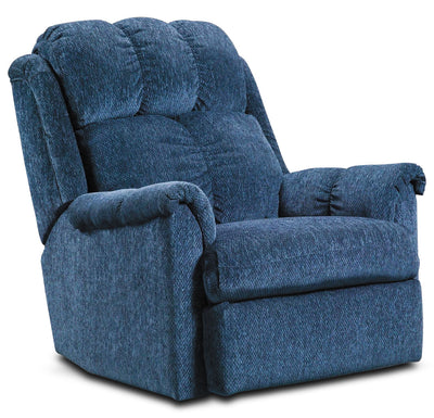 Navy Chenille Power Recliner - Contemporary style Chair in Navy