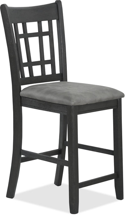 Desi Counter-Height Dining Chair – Charcoal - Contemporary style Dining Chair in Black Rubberwood Solids and Veneers