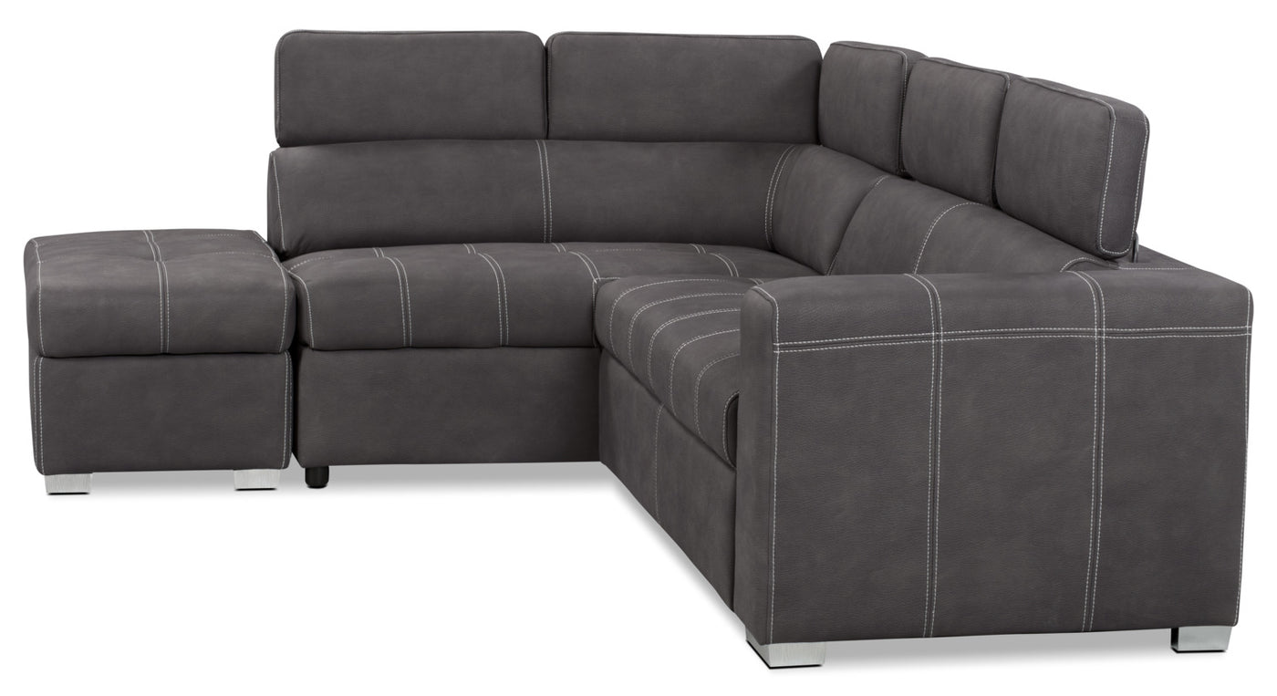 Drake 3-Piece Faux Suede Left-Facing Sleeper Sectional – Cement