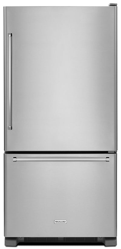 KitchenAid 22 Cu. Ft. Right Door Swing Bottom-Mount Refrigerator - Stainless Steel - Refrigerator in Stainless Steel