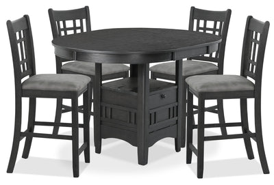Desi 5-Piece Counter-Height Dining Package – Charcoal
