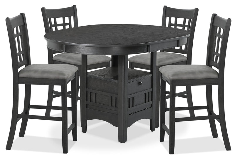 Desi 5-Piece Counter-Height Dining Package – Charcoal|Ensemble de salle à manger Desi 5 pièces de hauteur comptoir - gris