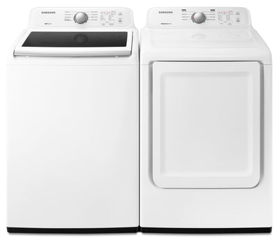 Samsung 5.2 Cu. Ft. Top-Load Washer and 7.4 Cu. Ft. Dryer – White|Laveuse à chargement par le haut de 5,2 pi³ et sécheuse de 7,4 pi³ de Samsung - blanches|SATL3100