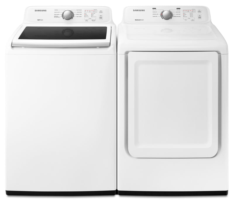 Samsung 5.2 Cu. Ft. Top-Load Washer and 7.4 Cu. Ft. Dryer – White|Laveuse à chargement par le haut de 5,2 pi³ et sécheuse de 7,4 pi³ de Samsung - blanches