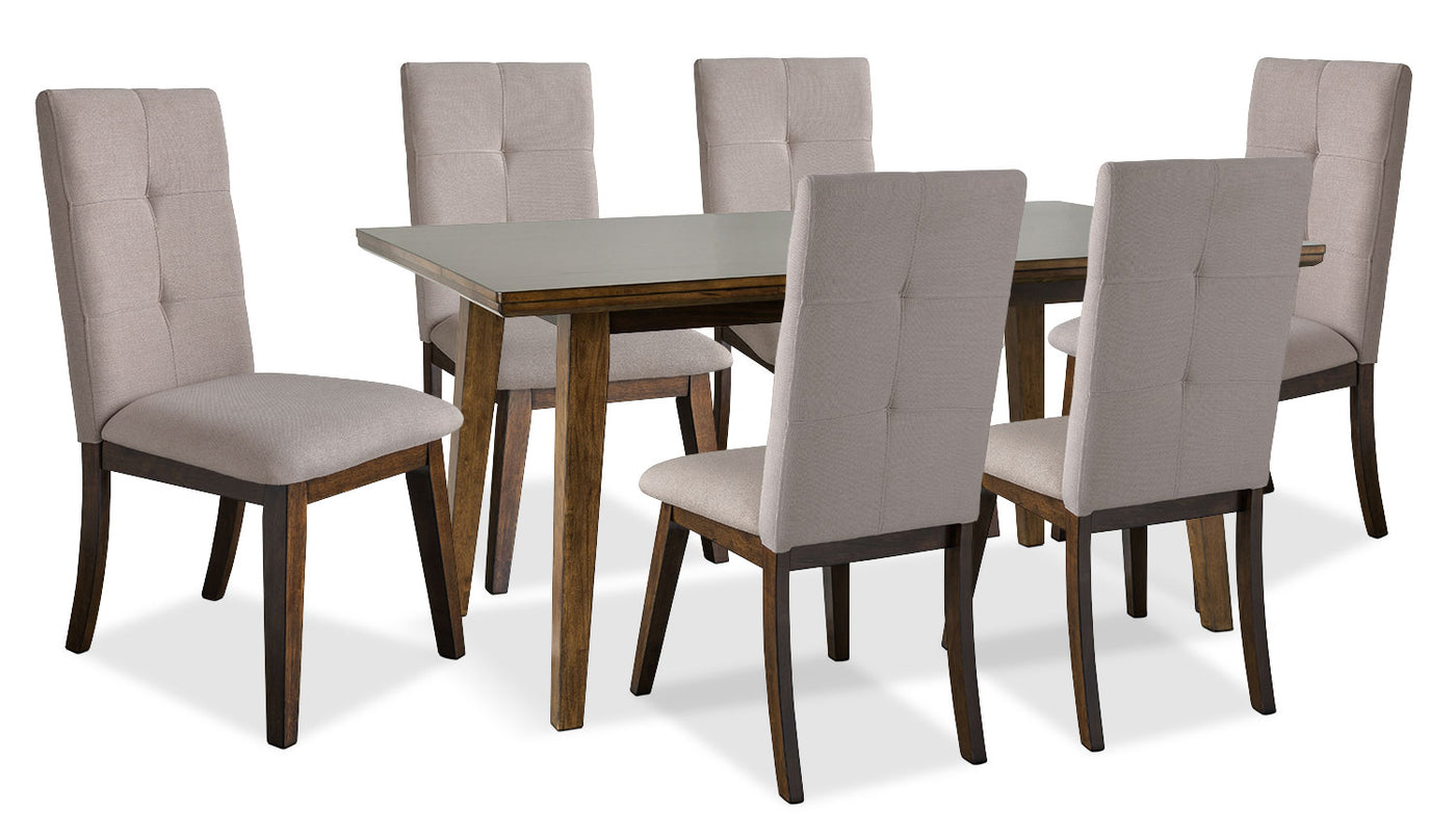 Chelsea 7 piece dining table package with beige chairsensemble de salle à manger hover to zoom