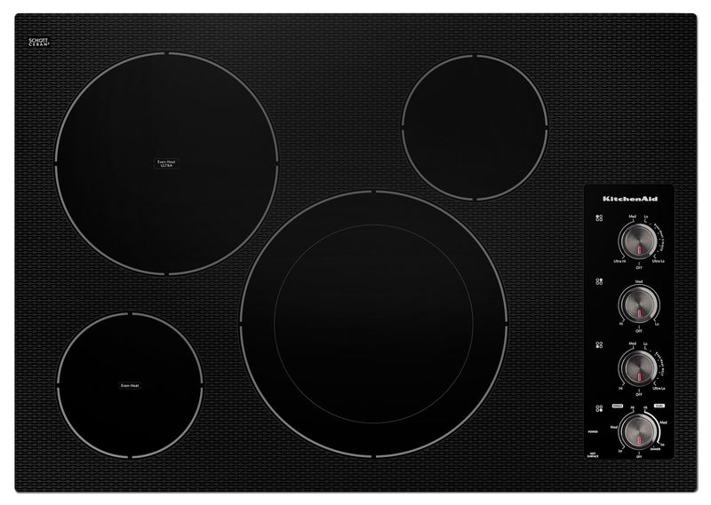 "KitchenAid 30"" Electric Cooktop with 4 Radiant Elements - Black