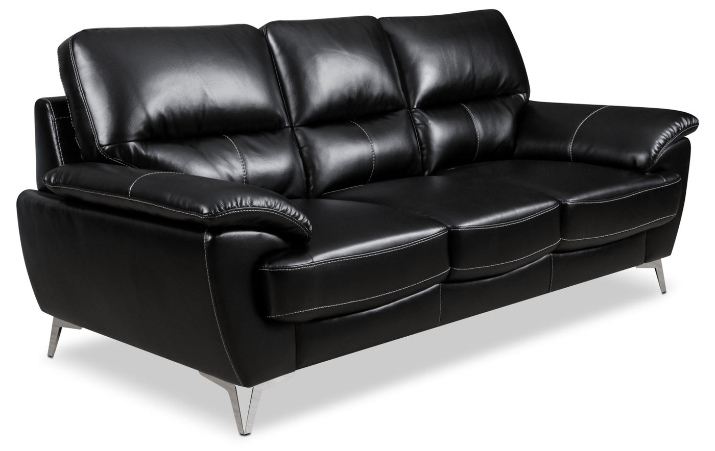 Olivia Leather Look Fabric Sofa Black The Brick