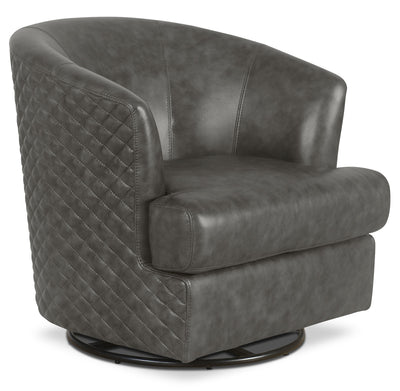 Leola Genuine Leather Accent Swivel Chair – Grey|Fauteuil d'appoint pivotant Leola en cuir véritable - gris|LEOLAGAC