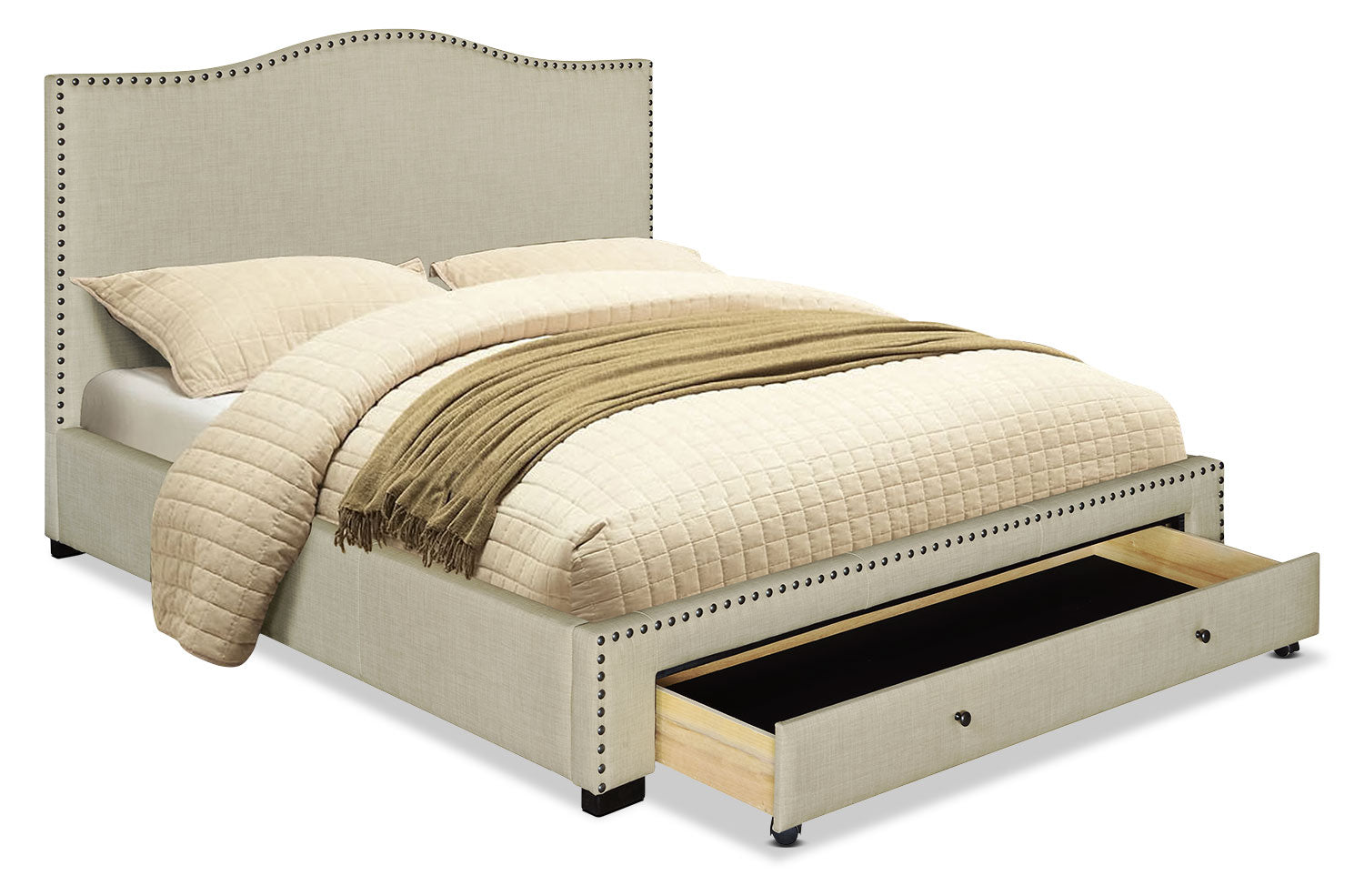 Luxor King Bed – Beige | The Brick