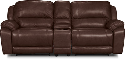 Marco Genuine Leather 3-Piece Power Reclining Sectional with Console– Chocolate - Contemporary style Sectional in Brown