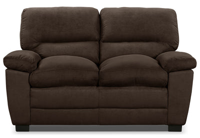 Peyton Microsuede Loveseat - Chocolate - Contemporary style Loveseat in Chocolate