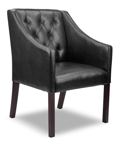 LAD Bonded Leather Button-Tufted Accent Chair – Black|Fauteuil d'appoint capitonné LAD en cuir contrecollé – noir|LAD608AC