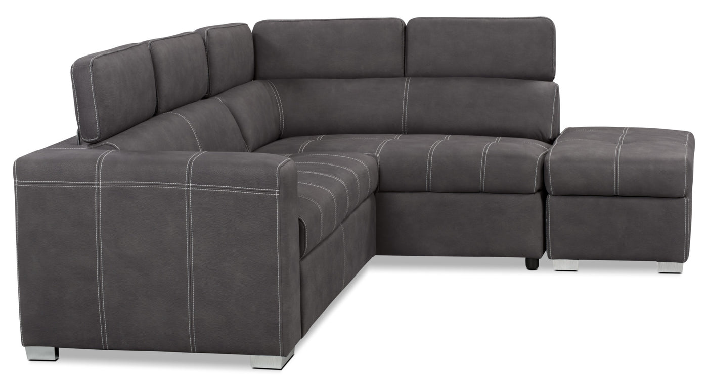 Drake 3 Piece Faux Suede Right Facing Sleeper Sectional Cement