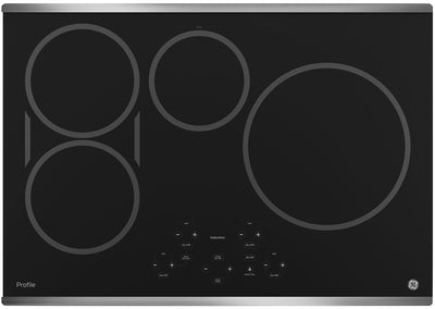 "GE Profile 30"" Electric Induction Cooktop – PHP9030SJSS - Electric Cooktop in Black/Stainless Steel"