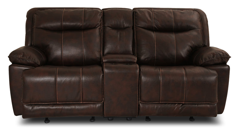 Matt Leather-Look Fabric Reclining Loveseat – Walnut|Causeuse inclinable Matt en tissu apparence cuir - noyer