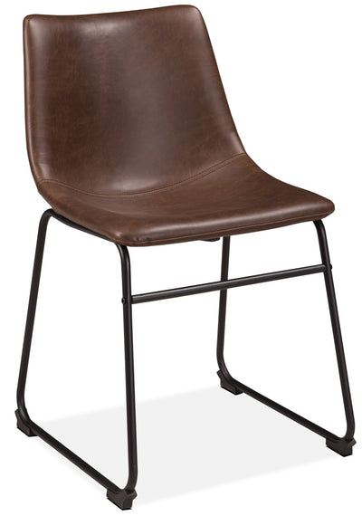 Centiar Dining Chair - Industrial style Dining Chair in Light Brown Metal and Faux Leather