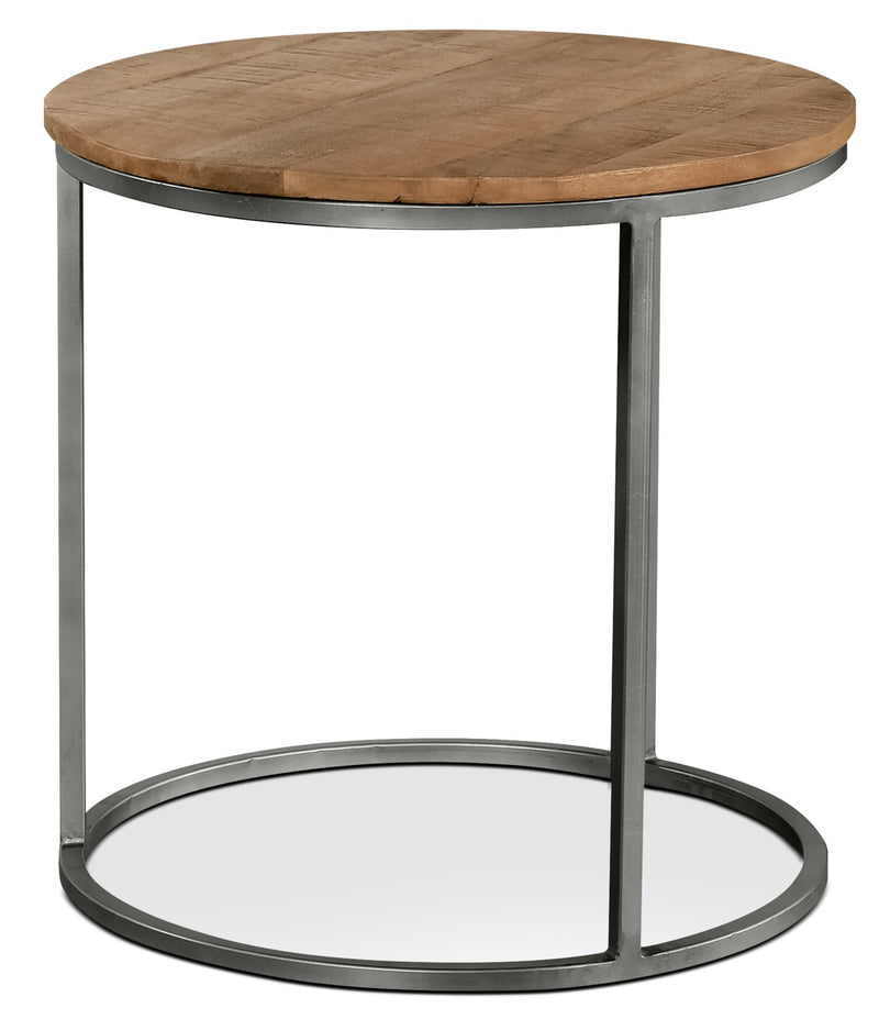 Veranasi End Table - Industrial style End Table in Brown Metal and Wood