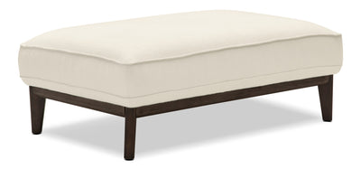 Gena Linen-Look Fabric Ottoman – Cotton - Modern style Ottoman in Cream