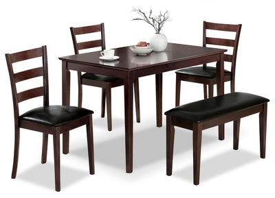 Monarch 5-Piece Dining Package – Cappuccino - Contemporary style Dining Room Set in Cappuccino