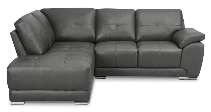 Rylee 2 Piece Genuine Leather Left Facing Sectional Grey