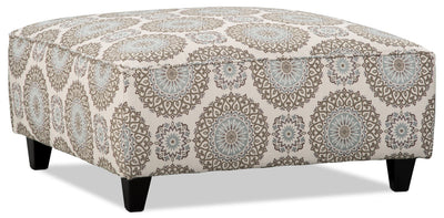 Tula Fabric Accent Ottoman – Brianne Twilight - Traditional style Ottoman in Twilight