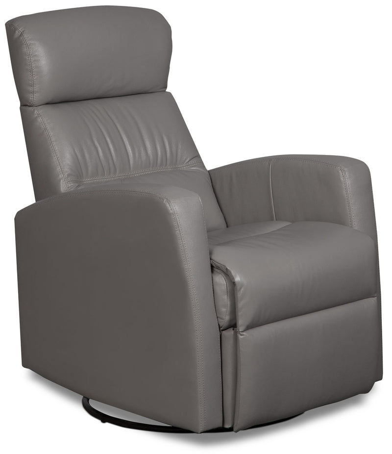 Penny Genuine Leather Swivel Rocker Reclining Chair – Light Grey|Fauteuil berçant inclinable et pivotant Penny en cuir véritable - gris pâle
