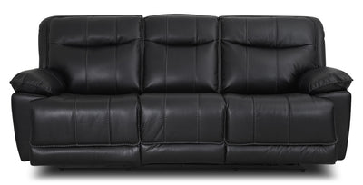 Matt Leather-Look Fabric Reclining Sofa – Black - Contemporary style Sofa in Black
