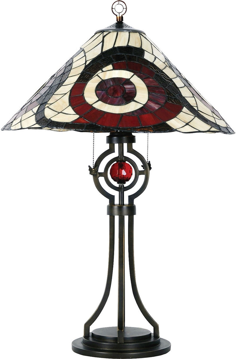 Cosmopolitan Table Lamp with Stained Glass Shade|Lampe de table Cosmopolitan avec abat-jour en vitrail