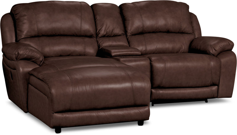 Marco Genuine Leather 3 Piece Sectional With Chaise Power