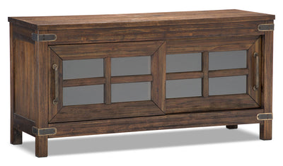 "Huntley 52"" TV Stand - Rustic style TV Stand in Dark Brown Wood"