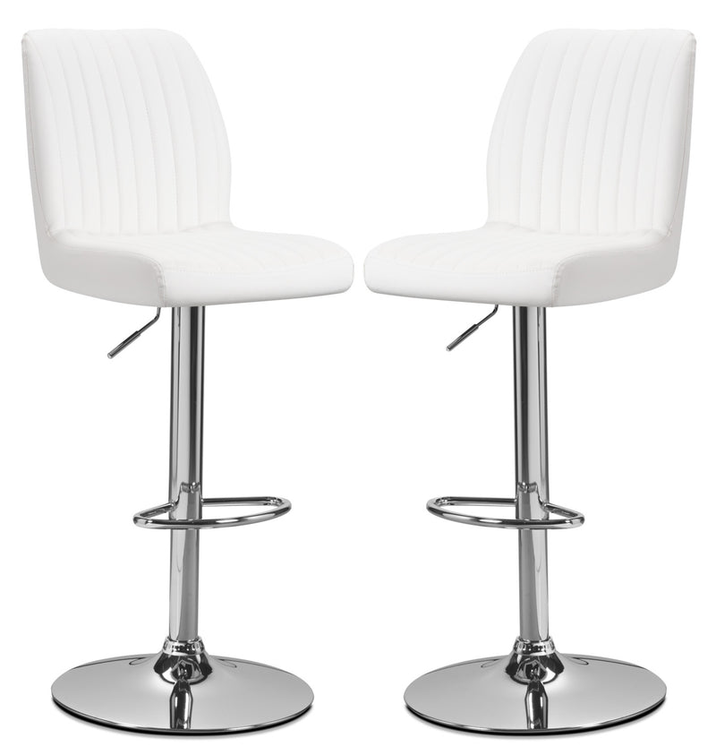 Monarch Adjustable Bar Stool, Set of 2 – White - Modern style Bar Stool in White Metal and Faux Leather