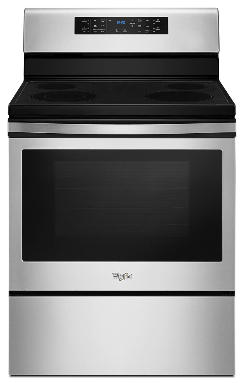 Whirlpool® 5.3 Cu. Ft. Guided Electric Front Control Range with Fan Convection Cooking|Cuisinière électrique amovible Whirlpool à convection de 5,3 pi3 – YWFE520S0FS