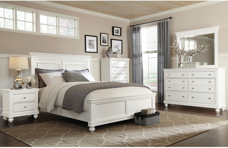 Bridgeport 5-Piece King Bedroom Set – White|Ensemble de chambre à coucher Bridgeport 5 pièces avec très grand lit - blanc