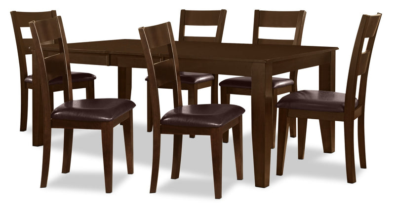 Dakota 7 Piece Casual Dining Package - Contemporary style Dining Room Set in Dark Cherry