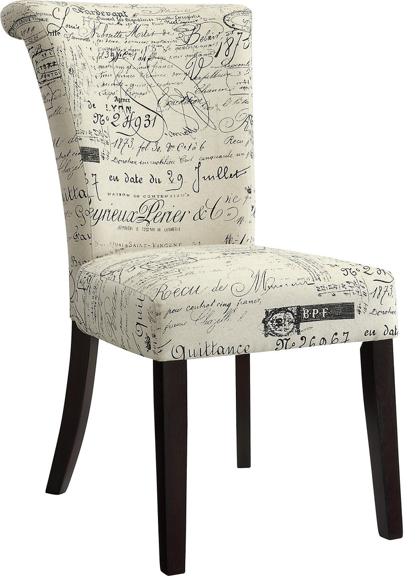 French Script Accent Dining Chair|Chaise d'appoint à écritures françaises