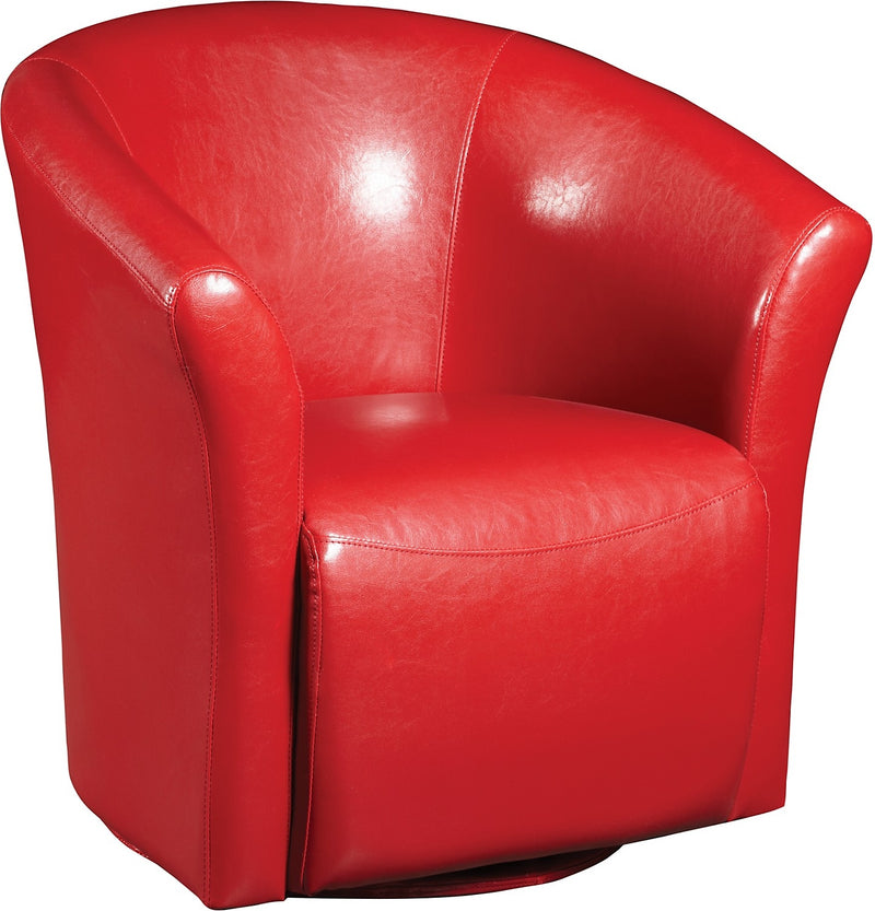 Ethan Red Faux Leather Swivel Accent Chair|Fauteuil d'appoint pivotant Ethan en similicuir - rouge