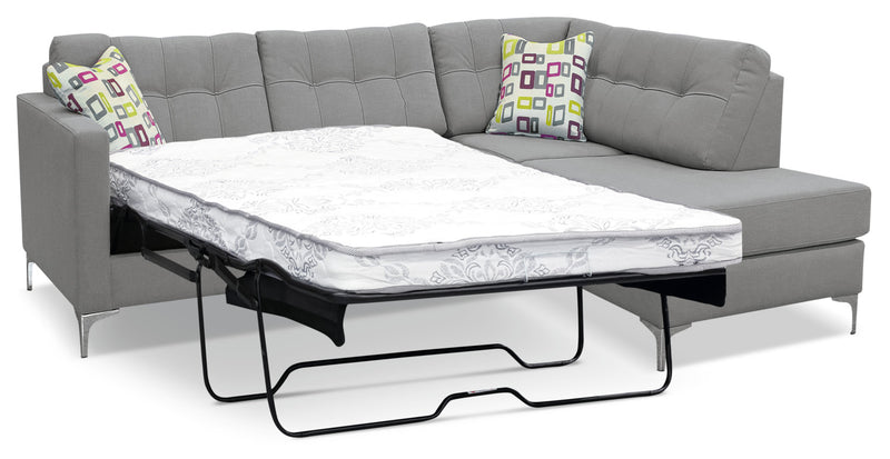 Ivy Fabric Right Facing Sectional With Sofa Bed Grey
