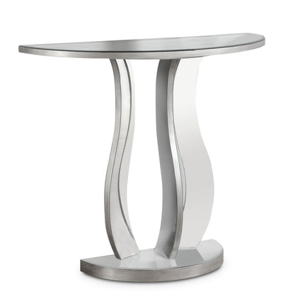 Laurel Sofa Table - Glam style Sofa Table in Silver Glass and Wood